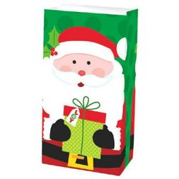 12 Santa with Gift Treat Bags Paper Lunch Bag