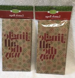 16 Brown Paper Lunch Bags CHRISTMAS print Holiday Gift 6x11.