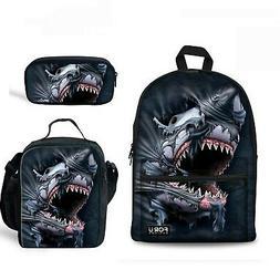 HUGS IDEA 3D Shark Backpack Set Teen Boys School Bag with Lu