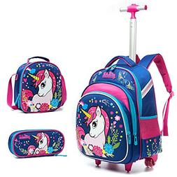Meetbelify 3Pcs Rolling Backpack for Girls with Lunch Bag Pe