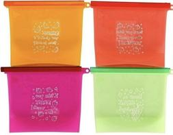 4 Pack Silicone Reusable Storage Zip Bags BPA FREE Lunch, Sn