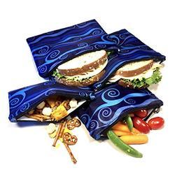 4pk Sandwich Snack Bag Resealable Reusable Dishwasher Safe L