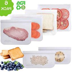 6 Pack Reusable Storage Leakproof Freezer Bags BPA FREE Reus