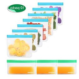 7 Pack Reusable Sandwich Bags and 3 Reusable Snack Bags BPA