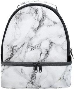 ALAZA White Aqua Black Marble Texture Portable Shoulder Doub