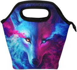 Naanle Animal Wolf Insulated Zipper Lunch Bag Cooler Tote Ba