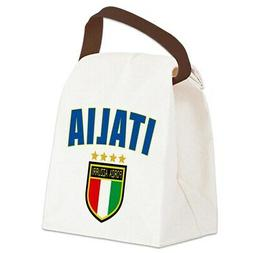 azzurri canvas lunch bag with strap handle