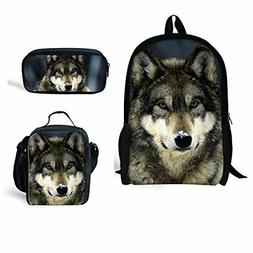 Bigcardesigns Back to School Wolf Bags Set Backpack Lunch Ba