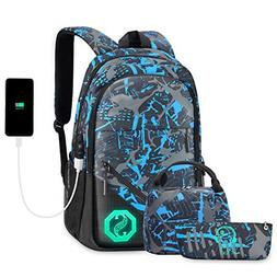 Backpack for Boys, Kids School Backpack Set with USB Chargin