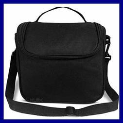 Black Insulated Lunch Bag For Women Men Unisex Adult Men Wom