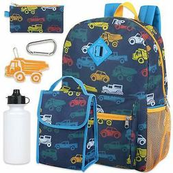 Boy's 6 in 1 Backpack Set With Lunch Bag, Pencil Case, Bottl