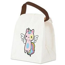 CafePress Cat Unicorn Fly Kawaii Canvas Lunch Bag with Strap
