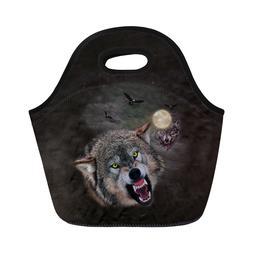 Cool Animal Wolf Insulated Lunch Bag for Boys Girl School Lu