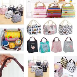 Cotton Linen Insulated Thermal Lunch Bags Kids Adult Outdoor