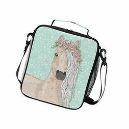 Cute Flower Horse Kids Lunch Box Cooler Insulated Lunch Tote