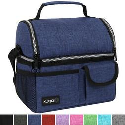 Double Deck Lunch Bag Dual Compartment for Adult Women Men W