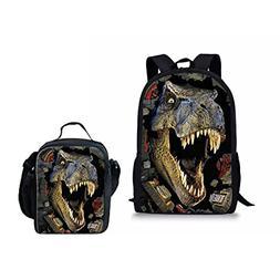 INSTANTARTS Dinosaur T-rex Student School Bag Backpack Bookb