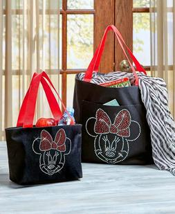 DISNEY MICKEY MINNIE MOUSE LARGE BLING PURSE OVERNIGHT TOTE