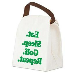 CafePress Eat Sleep Golf Canvas Lunch Bag with Strap Handle