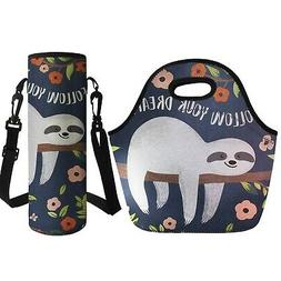 Coloranimal Floral Sloth Thermal Insulated Lunch Tote Bag wi