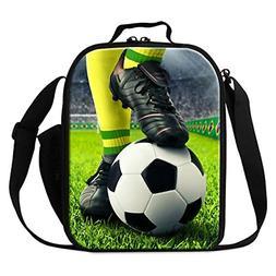 Dispalang Football Print Lunch Cooler Bags Small Soccer Insu