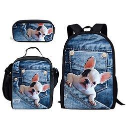 INSTANTARTS French Bulldog School Bookabg Shoulder Backpack