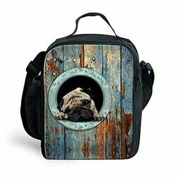 Bigcardesigns Funny Pug Lunch Bag Insulated Thermal Kids Sch
