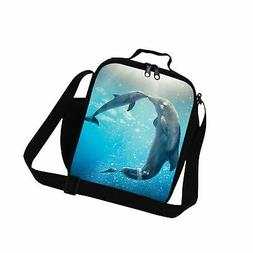 Generic Dolphin 3D Prints Lunch Bags for Girls School Therma