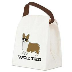 CafePress Get Low Corgi Canvas Lunch Bag with Strap Handle