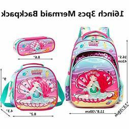 Girls Backpack Set School Bag Kids Lunch Box Pencil Case Zip