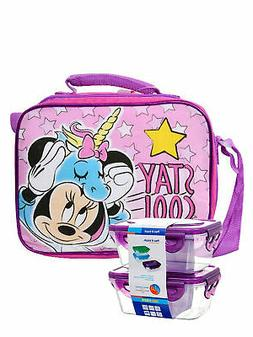 Girls Minnie Mouse Unicorn Insulated Lunch Bag Strap w/ 2-Pc
