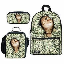 Bigcardesigns Girls School Bags Backpack Lunch Bag Pen Bag 3