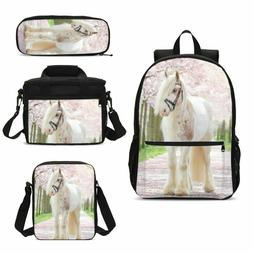 Horse School Large Backpack Insulated Lunch Bags Pencil Case
