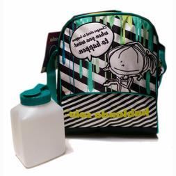 HS Girl Striped Insulated Tote Lunch Bag Box with Straps + W