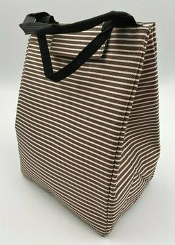 Insulated Lunch Bag Reusable Lunch Tote Bag Brown Stripes X0