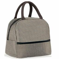 Insulated Lunch Box Brown Stripe Reusable Food Insulated Lun