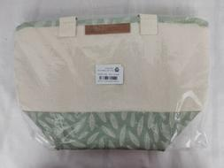 Insulated Lunch Box Tote Bag with White Leaf Print - Out of