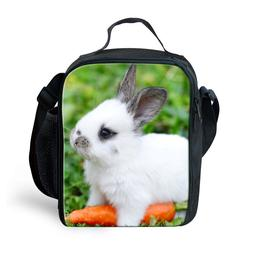 Kids Insulated Lunch Box Tote Animal Rabbit Food Lunchbags w