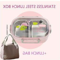 Kids Lunch Box With bag Tableware Stainless steel Microwave