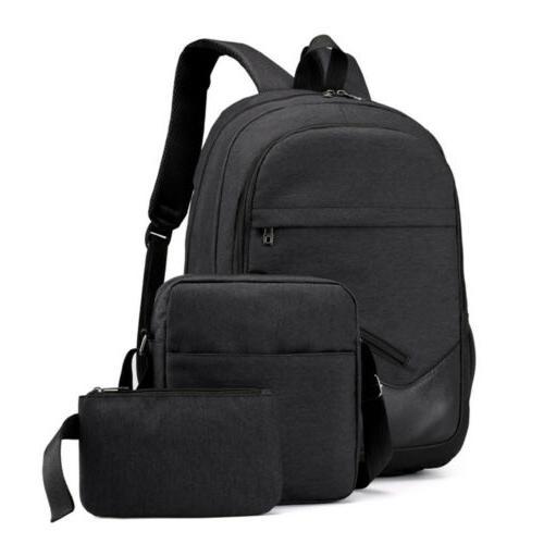 3Pcs School Backpack Boys Teens Travel Daypack Kids Girls Bag