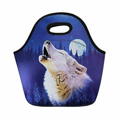 animal wolf lunch bag for boys girls