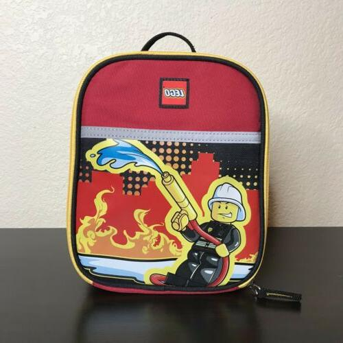 city heroes firefighter red insulated vertical lunch