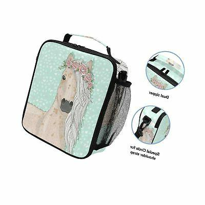 Cute Horse Lunch Box Insulated Lunch Tote Bag Shoulde...