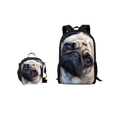 Cute Pug Satchel Lunch Bag Boys Girls 2pcs