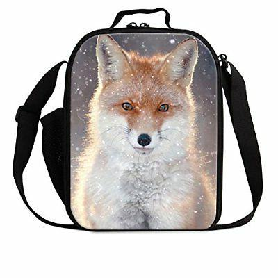 Dispalang Fox Print Lunch Bags for Children Girls Insulated