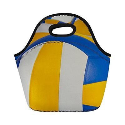 funny volleyball pattern neoprene lunch bag