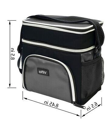Vina Insulated Lunch Dual Compartment Cooler Bag Men Women Adult