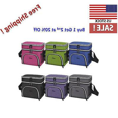Insulated Lunch Bag Dual Compartment Thermal Leakproof Cooler Tote