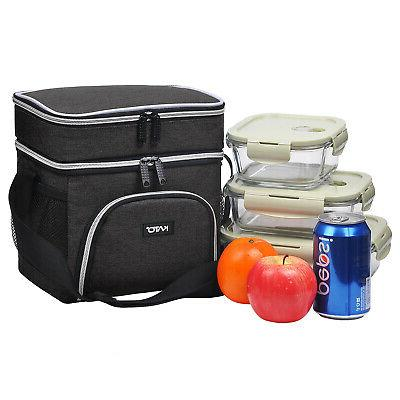 Insulated Dual Compartment Cooler Box Tote