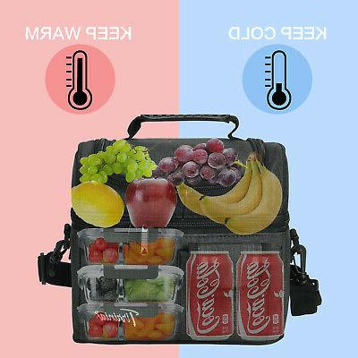 Insulated Lunch Bag Totes Cooler 2 Leakproof Thermal